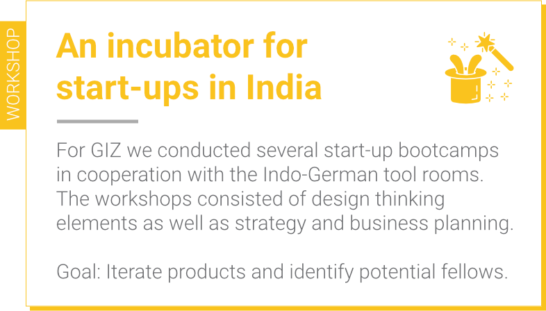 A incubation workshop for start-ups in India