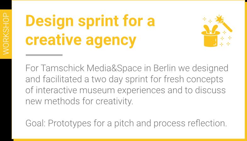 Design sprint for Tamschick Media&Space